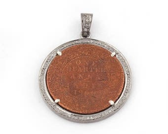 independence day 1 Pc Pave Diamond Indian Antique Coin Pendant - 925 Sterling Silver - Historic Coin pendant 34mmx30mm PD1362