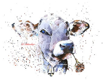 Cow with Flower  A3 (30*40cm/16*12 Inches)