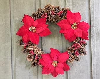 Poinsettia pinecone wreath/ Christmas wreath/ pinecone wreath/ poinsettia wreath/ winter wreath/ poinsettia decor/ woodland wreath/ Rustic