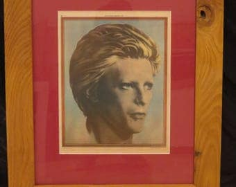 Framed David Bowie Artwork Print pulled from Vintage Rolling Stone Magazine