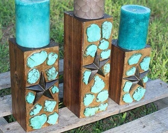 Set of 3 turquoise Candle holder-candles not included