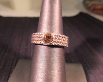 Trendy Sterling Silver Citrine Ring 7