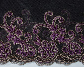 BLACK EMBROIDERED TULLE LACE