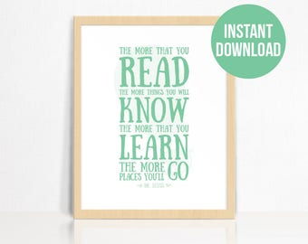 Dr Seuss Quote Wall Print | The More That You Read Quote | Nursery Decor | Children's Room Print