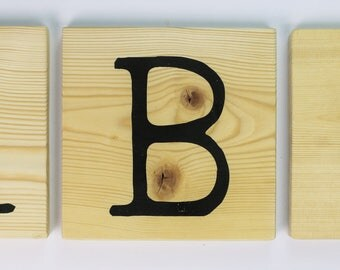 Underwood Typewriter Wood Tile Block Signs A-Z 0-9 Wall Decor