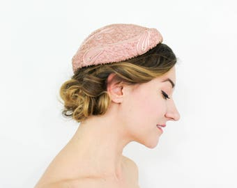 50s Pink Wool Hat | Dusty Pink Wool Felt Hat