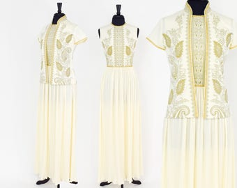 Alfred Shaheen 70s Creme Gold Maxi Dress | Long Sleeveless Dress & Jacket |  Small