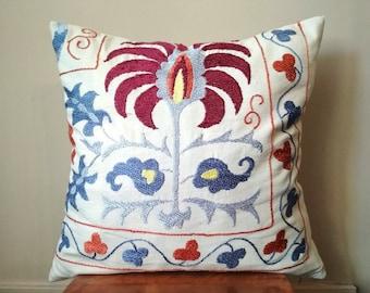 "18""x18"" Hand Embroidery Uzbek Suzani Pillow Cover / Ethnic Floral Decorative Pillow Case / Blue Garnet Tangerine Silk on Cotton Embroidery"