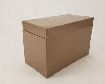 "Vintage Metal File Storage Container Box 8.5"" x 4.5"" x 5.5"""