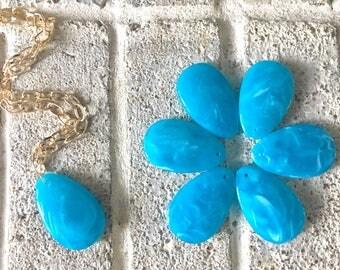 Caribbean Blue Teardrop Pendants, 57x36mm, acrylic gem pendants, 1 hole pendant, long necklace, wire wrapped pendant, wrapping pendant light