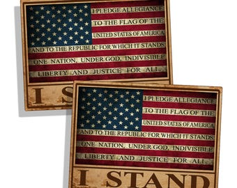 RUSTIC I Stand USA American Flag w/ Pledge of Allegiance Stickers Printed Vinyl Decal US America Proud Car Truck Vehicle Graphic Laptop Cup