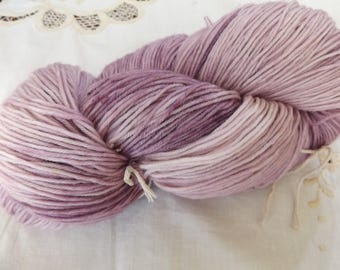 Fingering weight Hand dyed OOAK sock yarn merino/nylon blend 75/25 lilac base (Lavender)