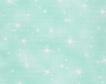 Fabric Flair -  Fairy Dust - Cloud Turquoise with sparkles 16 count Aida.  Piece approx 45 x 50cm
