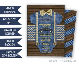 Little Man Baby Shower Invitation - Bow Tie Baby Shower Invite - Bowtie Little Man Invite - Its a Boy Invitations - Boy Baby Shower Romper