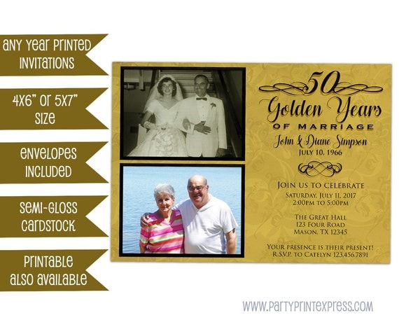 Golden Wedding Anniversary Invites: 50th Anniversary Invitation Golden Anniversary Invitations