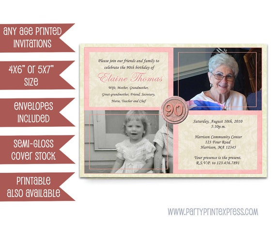 items similar to pink woman birthday invitations - 90th 80th 70th 60th 50th
