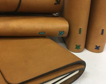 All Sizes Toasty Tan Trifold Fillion Leather Refillable Journal for Moleskine, Field Notes, B6, Personal Custom made by Little Mountain Bind