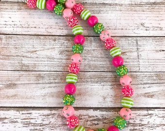 Pink and Green Chuky Bubblegum Necklace, Lemonade Party Chunky Necklace, Girl Toddler Sparkle Necklace, Mini Bubblegum Necklace