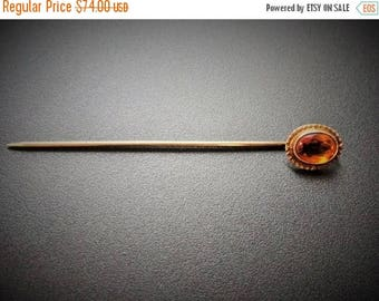 SALE Antique Victorian 14k Gold Mederia Citrine Stick Pin Lapel Pin Hat Pin Antique Jewelry