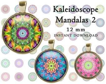 Colorful mandala round images 12 mm kaleidoscope mandalas 2 collage sheet bottle cap abstract printable cabochons