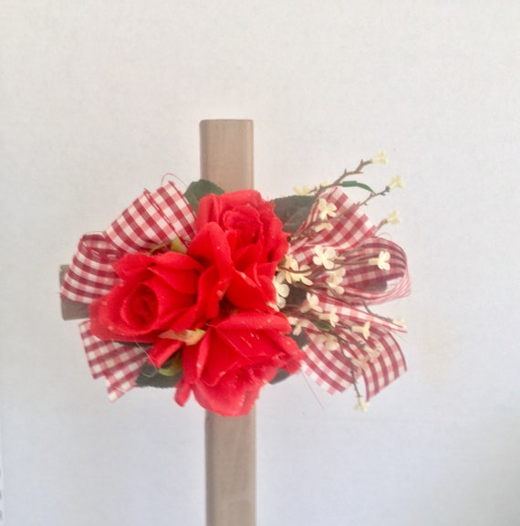 Cemetery flowers, Cemetery cross with flowers, grave decoration, memorial stake