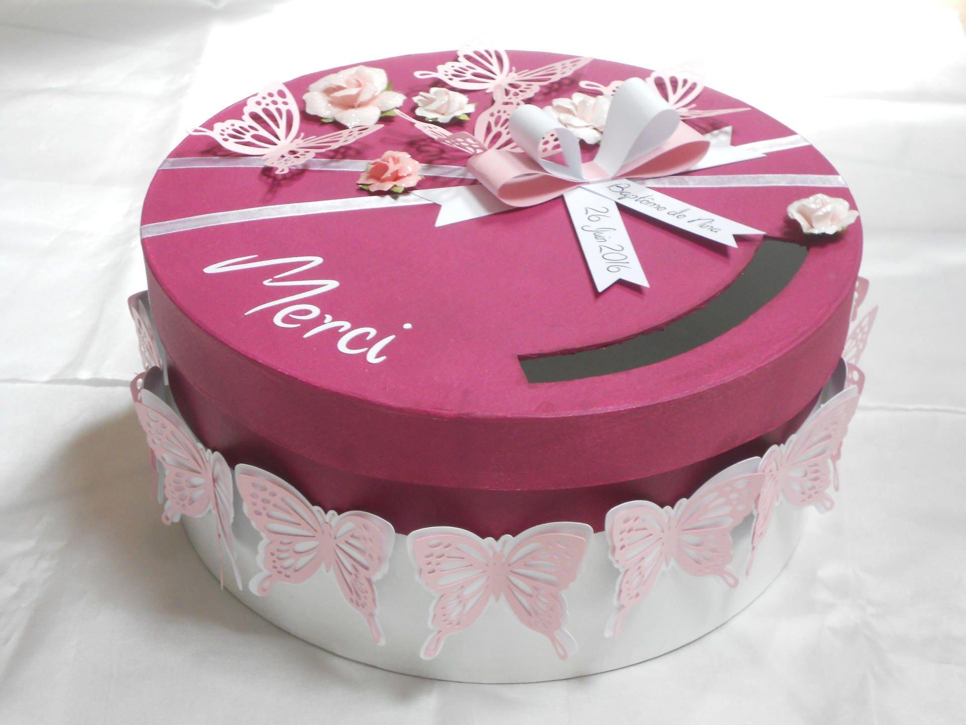 Urne tirelire boite enveloppes ronde mariage bapt me - Decorer boite carton pour anniversaire ...