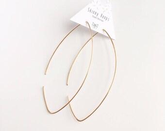 Skinny Hoops, Geometric Earrings, Silver Hoops,  Modern Jewelry, Everyday Jewelry, Hoop Earrings, Valentines Day, Gift Idea, One Piece Hoop