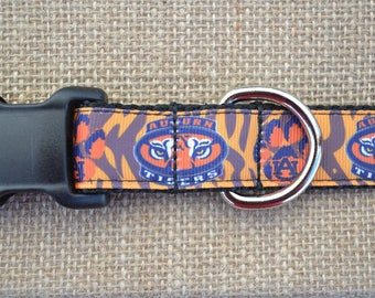 "1"" Wide Auburn Tigers Dog Collar"