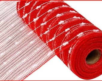 10 inch Red Snowball Mesh RY820049, Red Snowball Deco Poly Mesh, Deco Mesh Supplies - (10 YARDS)