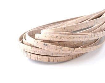 Cork cord 50 cm flat raw color