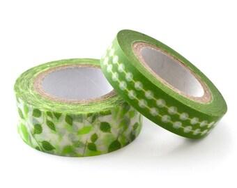Set of 2 masking tape-green patterns
