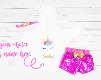 Girls Unicorn Birthday Outfit, Girls Unicorn Outfit, Personalized Unicorn Birthday, Baby Girls Unicorn Outfit, Sparkle Shorties