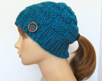 Ponytail Beanie Hat Pony Tail or Low Bun Hole Chunky Knit Hat Gift for Her Thunder Blue Women's Hat Wool Beanie Handmade in Alaska