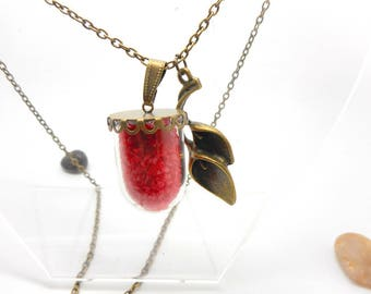 Long necklace glass globe sand thick red arum charm