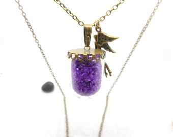 Long necklace glass globe sand thick Purple Fairy charm