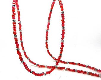 Necklace half long, pink seed beads