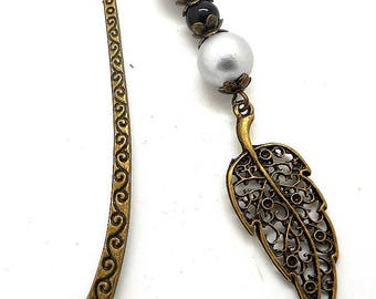Bronze bookmark jewelry, beads, filigree leaf