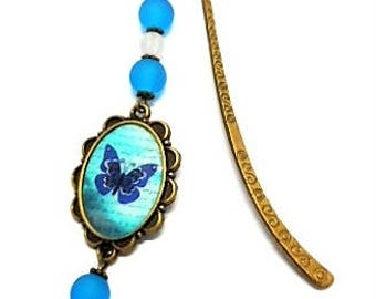 Bookmark bronze jewelry, butterfly and turquoise beads