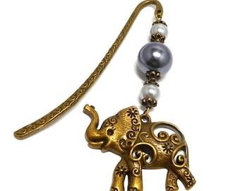 Bookmark bronze jewelry, elephant and gray beads