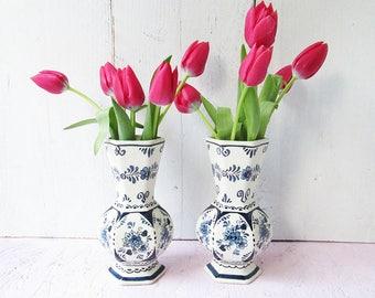 2 Delft Blue Vintage Little Vases, Delft Holland Blue White Vase