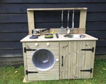 mud kitchen chunky wooden childs educational item washing machine