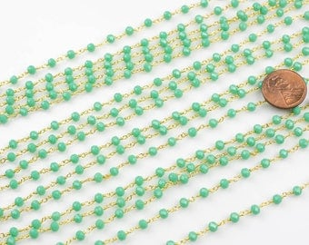 WHOLESALE 4mm Jade Crystal Rosary Chain...wire wrapped chaingold plated chain by the YARD- Aqua