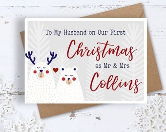 Snow Bears Our First Christmas Card, 1st Christmas Mr & Mrs, Personalised, Handmade for Newlyweds