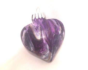 """Purple & White Acrylic Fluid  Pour Glass Heart Ornament 2"""" Valentine"""