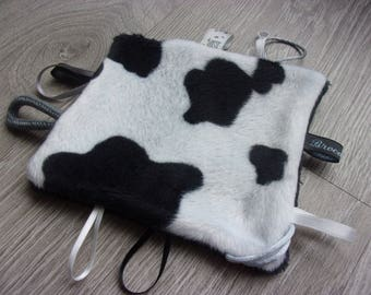"""cuddly labels """"cowhide"""", kids fabric velvet and fleece, black and white"""