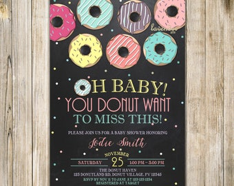 CHALKBOARD DONUT BABY Shower Invitation, Rainbow Baby Shower Invite, Girl Baby Sprinkle, Donut Want to Miss, Donuts and Diapers, Doughnuts