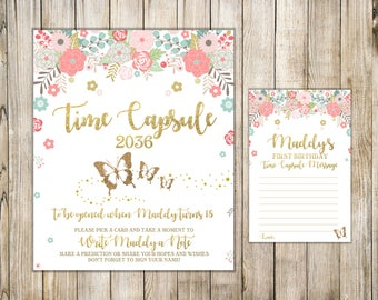 BUTTERFLY TIME CAPSULE Sign & Card, Butterfly First Birthday Time Capsule Message, Pink Floral 1st Birthday Capsule, Printable Time Capsule