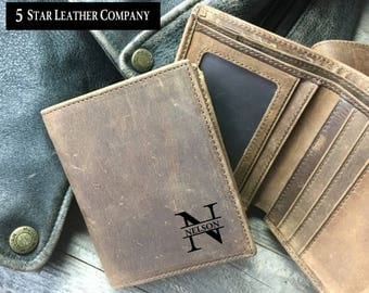 Men's leather wallet, leather wallet, cowhide leather wallet, personalized leather wallet