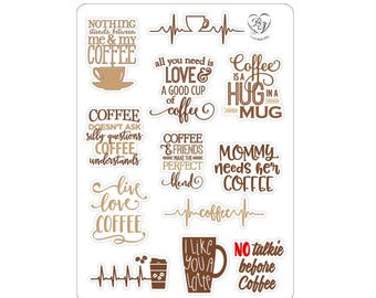"LovedbyGaby stickers ""coffee quotes"""