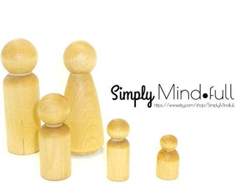 Peg doll, Wood little people, Natural, sustainable, Eco friendly kids toy, children's birthday idea.  Made in the USA